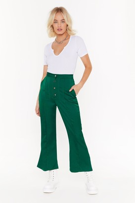 Nasty Gal Womens Add Some Flare Satin Cropped Trousers - green - 10