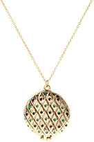 House of Harlow 1960 14ct Gold Plated Peacock Feather Enamel Locket Necklace