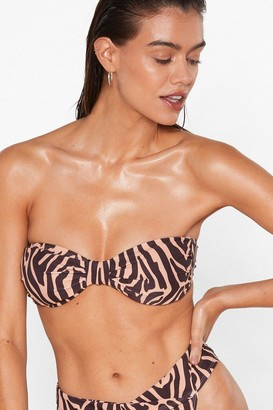 Nasty Gal Womens Bow Me Zebra Bikini Top - Brown - 4, Brown