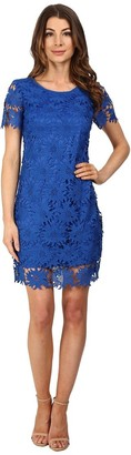 Adrianna Papell Women's Sunflower Scalloped-Lace Flounce Dress
