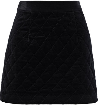 Frame Quilted Cotton-blend Velvet Mini Skirt