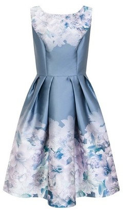 Dorothy Perkins Womens *Chi Chi London Curve Blue Floral Print Skater Dress, Blue