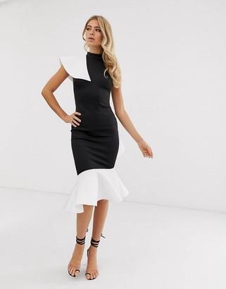 Asos DESIGN one shoulder ruffle halter midi dress