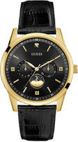GUESS Men's Diamond Accent Black Leather Strap Watch 41mm U0868G2