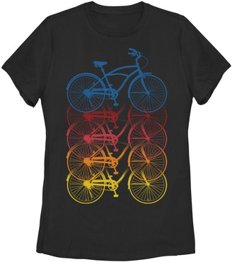Juniors' Bicycles Fading Into Each Other Athletic Graphic Tee