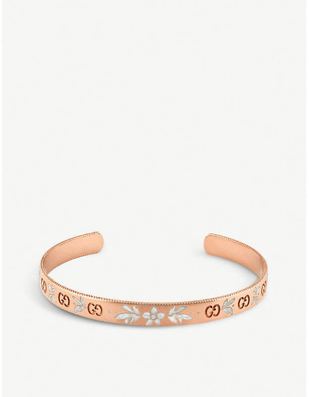 Gucci Icon blossom 18ct rose gold bracelet, white