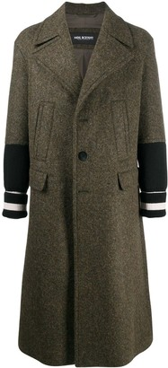 Neil Barrett Knitted Sleeves Single-Breasted Coat