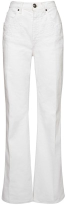 Etro High Waist Flared Cotton Stretch Jeans