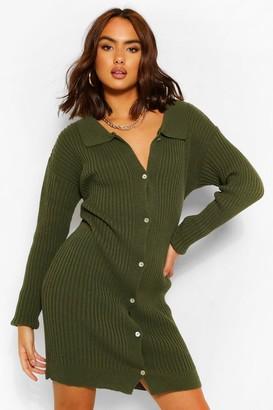boohoo Polo Collar Rib Knit Dress