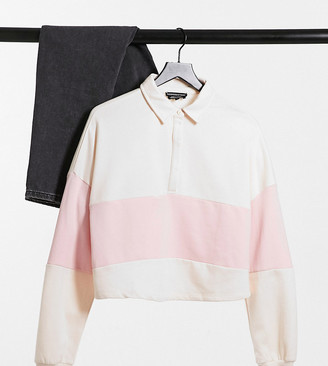 Wednesday's Girl Curve relaxed sweatshirt in ivory with pink contrast stripe