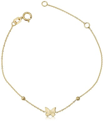 Fremada Italian 14k Yellow Gold Butterfly and Bead Children's Bracelet