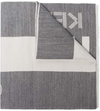 Kenzo grey logo intarsia scarf