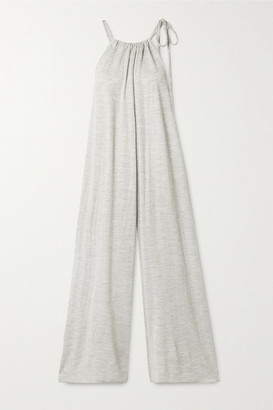 LAUREN MANOOGIAN Draw Oversized Gathered Bamboo, Merino Wool And Silk-blend Jumpsuit - Gray