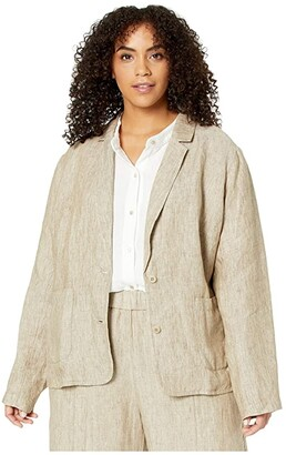 Eileen Fisher Plus Size Washed Organic Linen Delave Shaped Blazer (Khaki) Women's Clothing