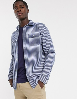 Selected two pocket thick stripe shirt in blue
