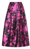 Oscar de la Renta Printed Pleated Silk And Cotton Midi Skirt