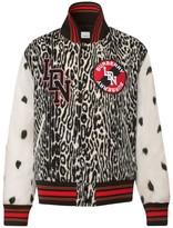 Burberry Padfield Contrast-Sleeve Leopard-Print Bomber Jacket