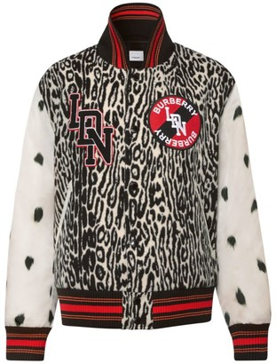 Burberry Padfield Contrast-Sleeve Leopard-Print Bomber Jacket