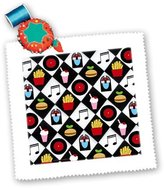 3dRose LLC qs_107288_3 Lee Hiller Designs Malt Shop - Malt Shop Black white tile with Jukebox 45s Soda Hamburger Fries - Quilt Squares
