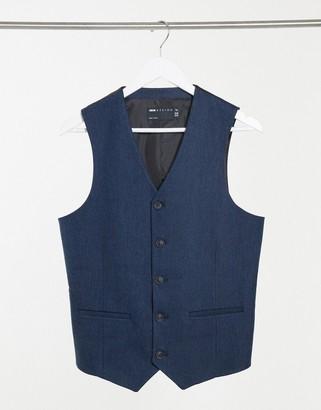 ASOS DESIGN wedding skinny wool mix suit vest in navy herringbone