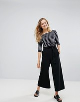 French Connection Arrow Crepe Flared Pants with Tie Belt