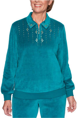 Alfred Dunner Petite Bright Idea Beaded Velour Top