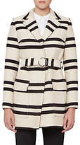 French Connection Escher Stripe Belted Mac Coat, Classic Cream/Nocturnal