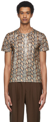 Cmmn Swdn Beige and Black Snake Aries Tight Fit T-Shirt