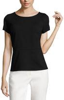 Liz Claiborne Short-Sleeve Textured Peplum Top