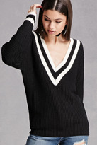 Forever 21 FOREVER 21+ Striped V-Neck Sweater