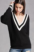 Forever 21 FOREVER 21+ Striped V-Neck Sweater