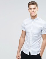 Asos Skinny Striped Shirt In Blue With Short Sleeves