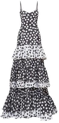 Carolina Herrera Tiered Polka-dot Organza Gown - Womens - Black White