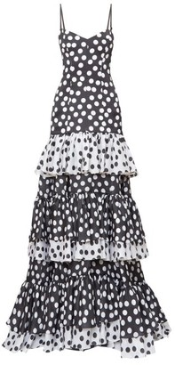 Carolina Herrera Tiered Polka-dot Silk-organza Gown - Womens - Black White