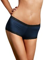 Maidenform Women's Microfiber with Lace Boyshort Panty, Navy/Black