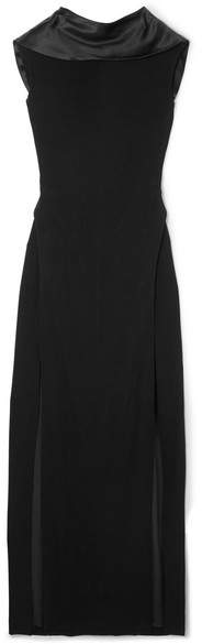 Thierry Mugler Open-back Satin-trimmed Stretch-crepe Gown - Black