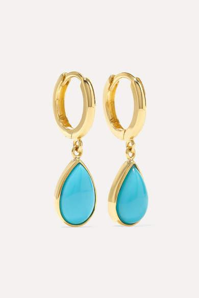 Jennifer Meyer Huggies 18-karat Gold Turquoise Earrings