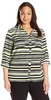 Notations Women's Plus-Size Printed Long-Sleeve Blouse