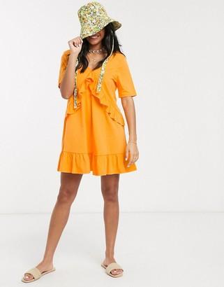 Asos DESIGN v front frill seam smock dress in tangerine