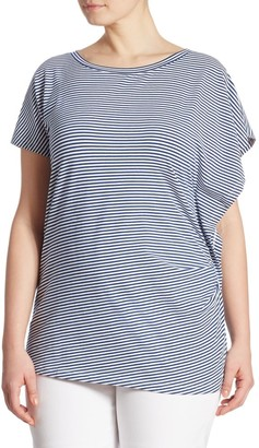 Joan Vass, Plus Size Ruched Stripe Tee
