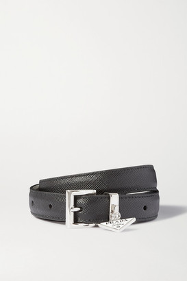 Prada Embellished Textured-leather Waist Belt - Black
