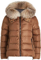 Moncler Chitalpa Quilted Down Jacket with Fur-Trimmed Hood