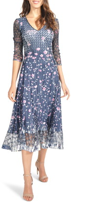 Komarov Charmeuse & Lace Midi Dress