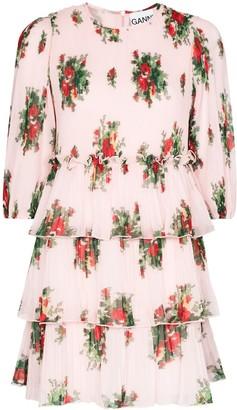 Ganni Floral Print Tiered Mini Dress