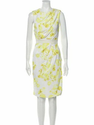 Giambattista Valli Floral Print Knee-Length Dress Yellow