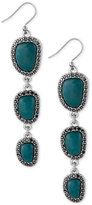 Lucky Brand Silver-Tone Black Pavé and Blue Stone Triple Drop Earrings