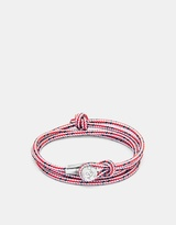 Red Dash Dundee Rope and Silver Bracelet