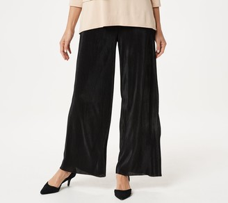 Joan Rivers Classics Collection Joan Rivers Petite Solid Accordion Pleat Palazzo Pants
