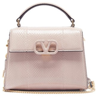 Valentino V-sling Mini Snakeskin Cross-body Bag - Nude