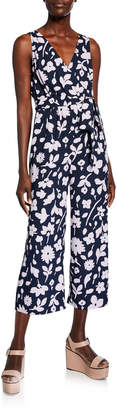 Kate Spade Splash Floral Tie-Waist Sleeveless Cropped Jumpsuit